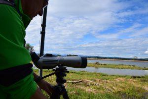 Ein Mann blickt durch ein Fernrohr auf den sogenannten Binnensee am Ammersee-Südende.